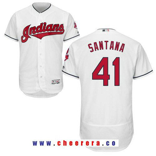 Men s Cleveland Indians  41 Carlos Santana White Flexbase Authentic  Collection MLB Jersey. Cleveland IndiansMlbBaseball JerseysStitchesCarlos  ... a20f50c61