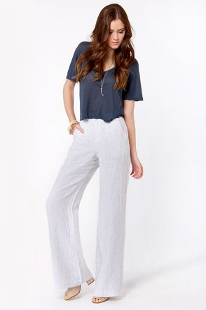 High Waisted White Linen Pants