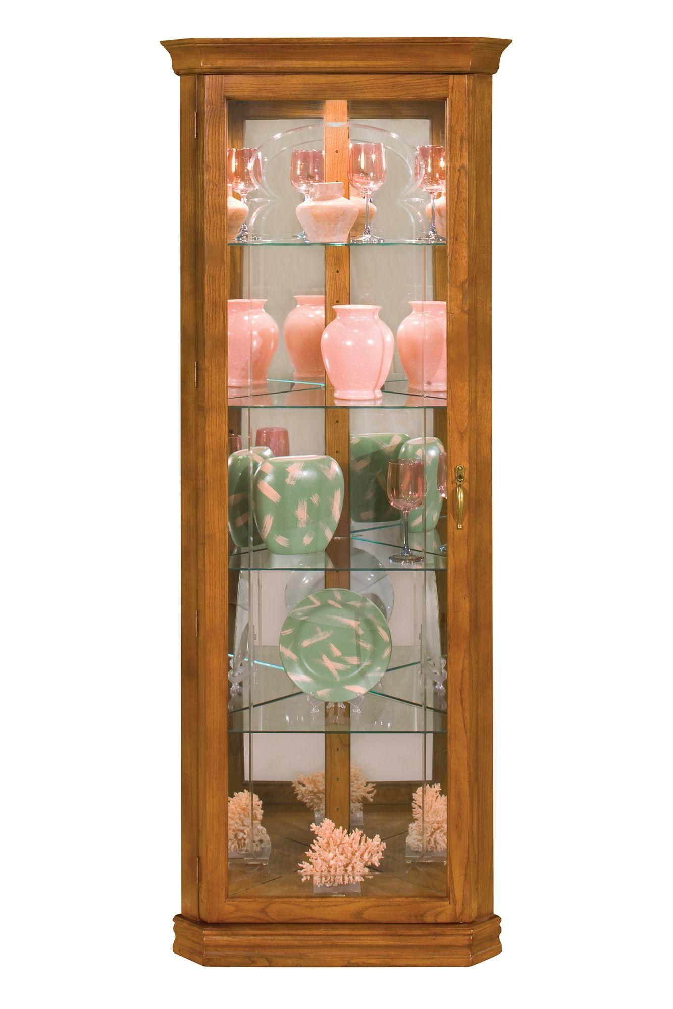 Tempo II Corner Curio Cabinet in Oak