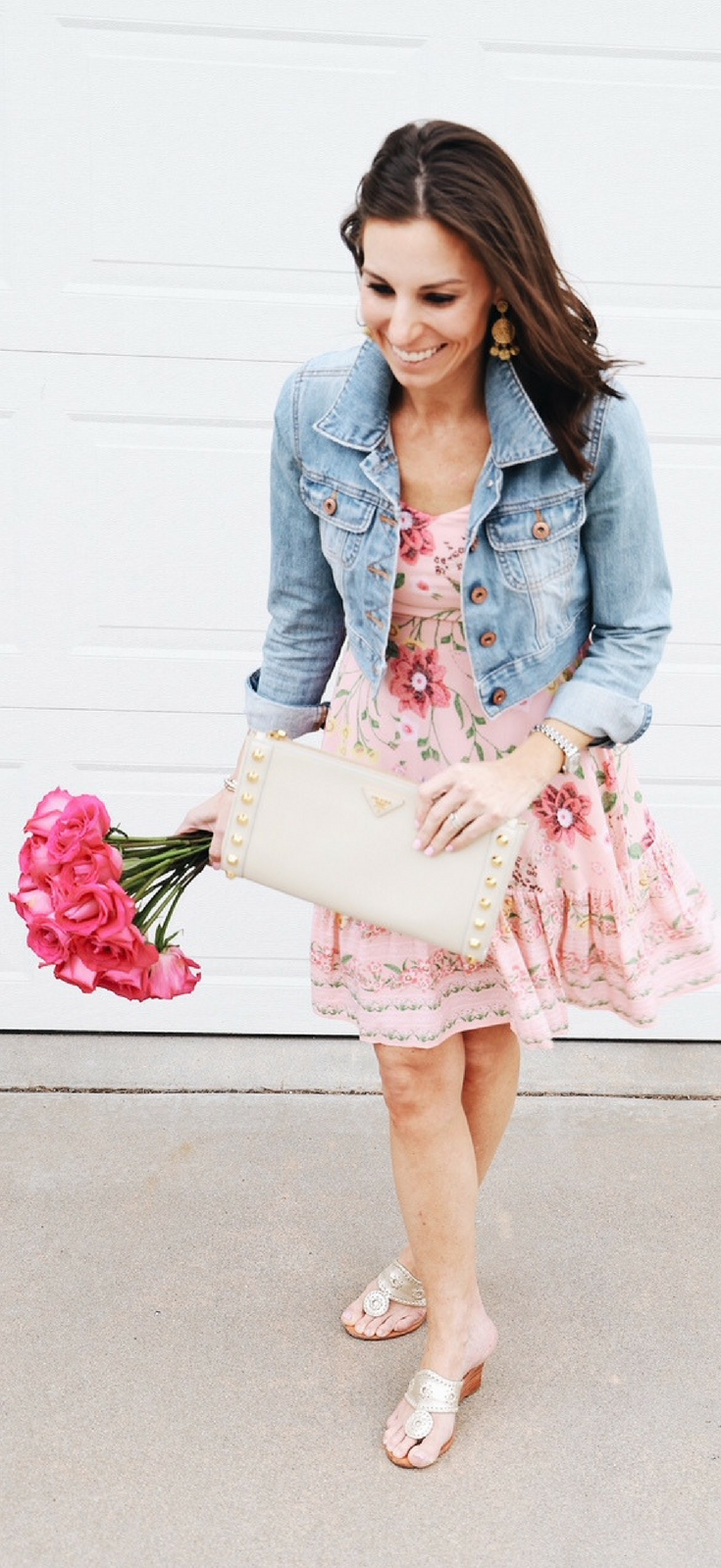 72df3323505 Pink Floral Dress // Spring Fashion // tinystampede.com Denim Jacket With  Dress
