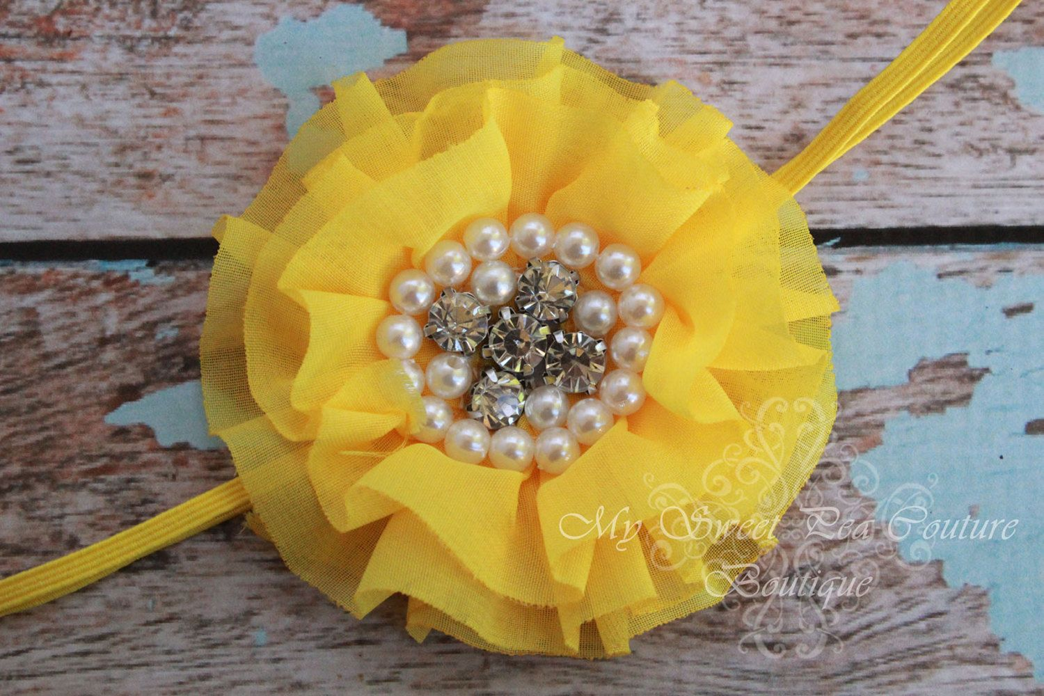 Sunflower Yellow Sparkle Couture Chiffon Ruffle Flower With Pearls