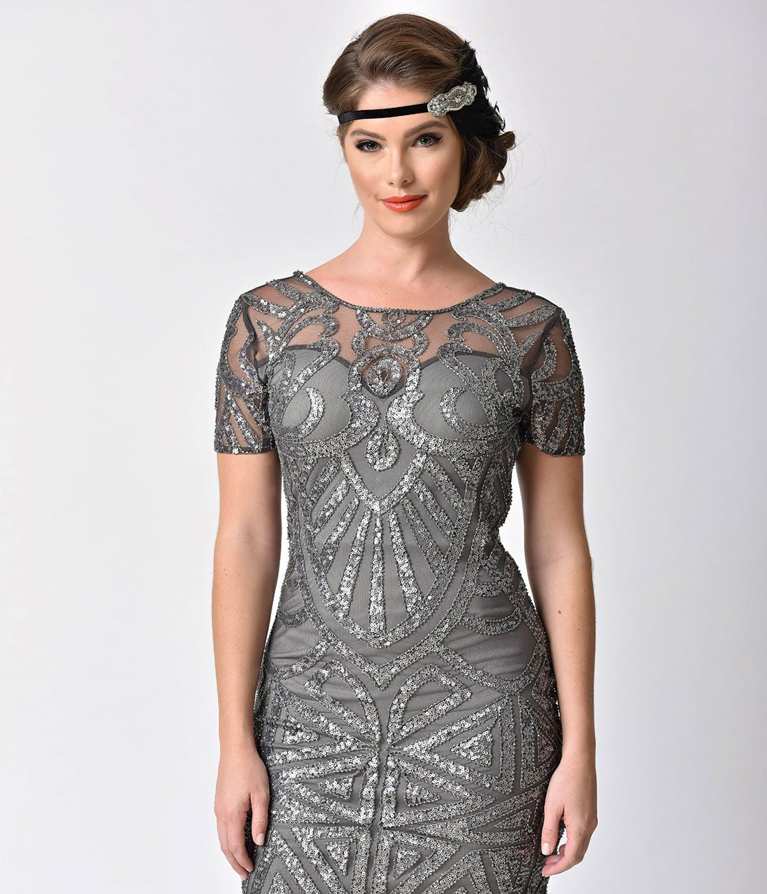 s Style Dark Grey Deco Sequin Beaded Flapper Short Dress
