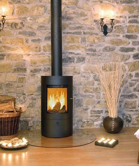 Image Result For Brick Feature Wall With Free Standing Fireplace With Logs Wood Burner Fireplace Stove Fireplace Wood Burning Fireplace