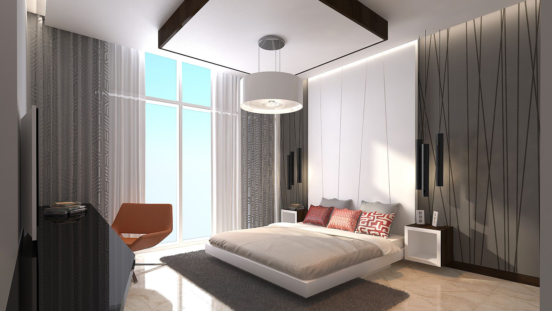 Modern interior design modern bedroom master bedroom geometric interior design 3ds max 3d 3d bedroom design