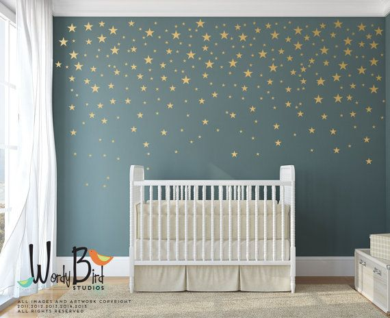 Gold stars wall decals pack peel and stick confetti wall decals metallic star wall decals