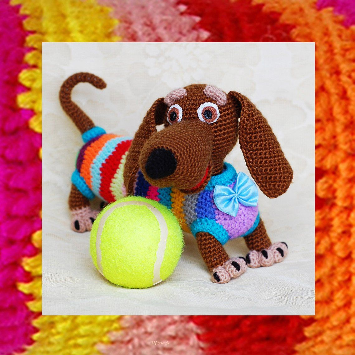 030 Amigurumi dog pattern. Crochet tabby lady dachshund tutorial. Colorful crochet toy. Instant download: ENGLISH, FRENCH, DUTCH