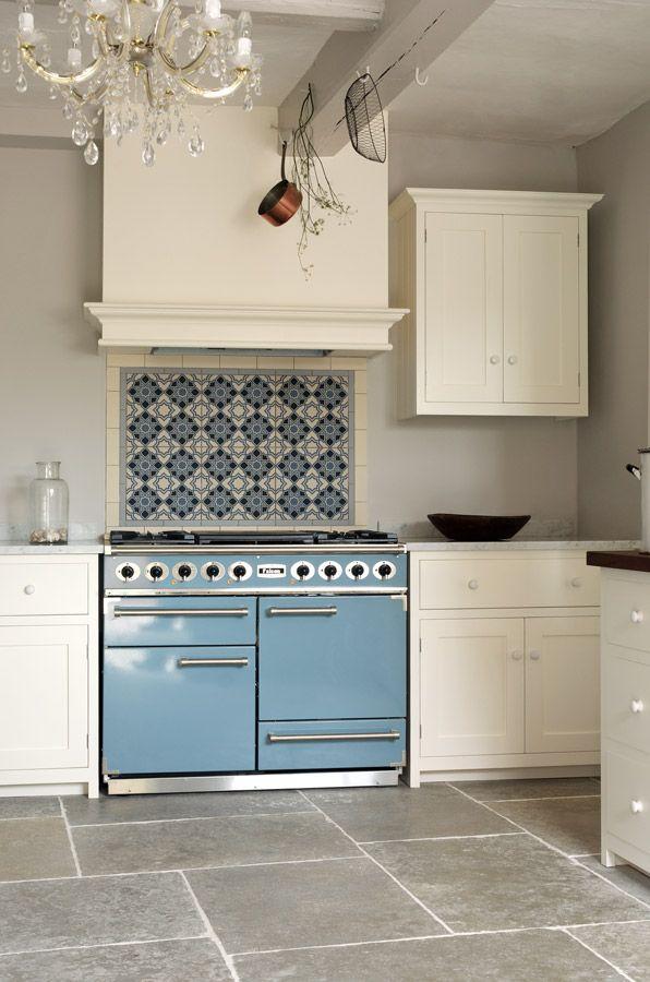 Blue Falcon Oven Range Tile Backsplash Updates Classic White Kitchen