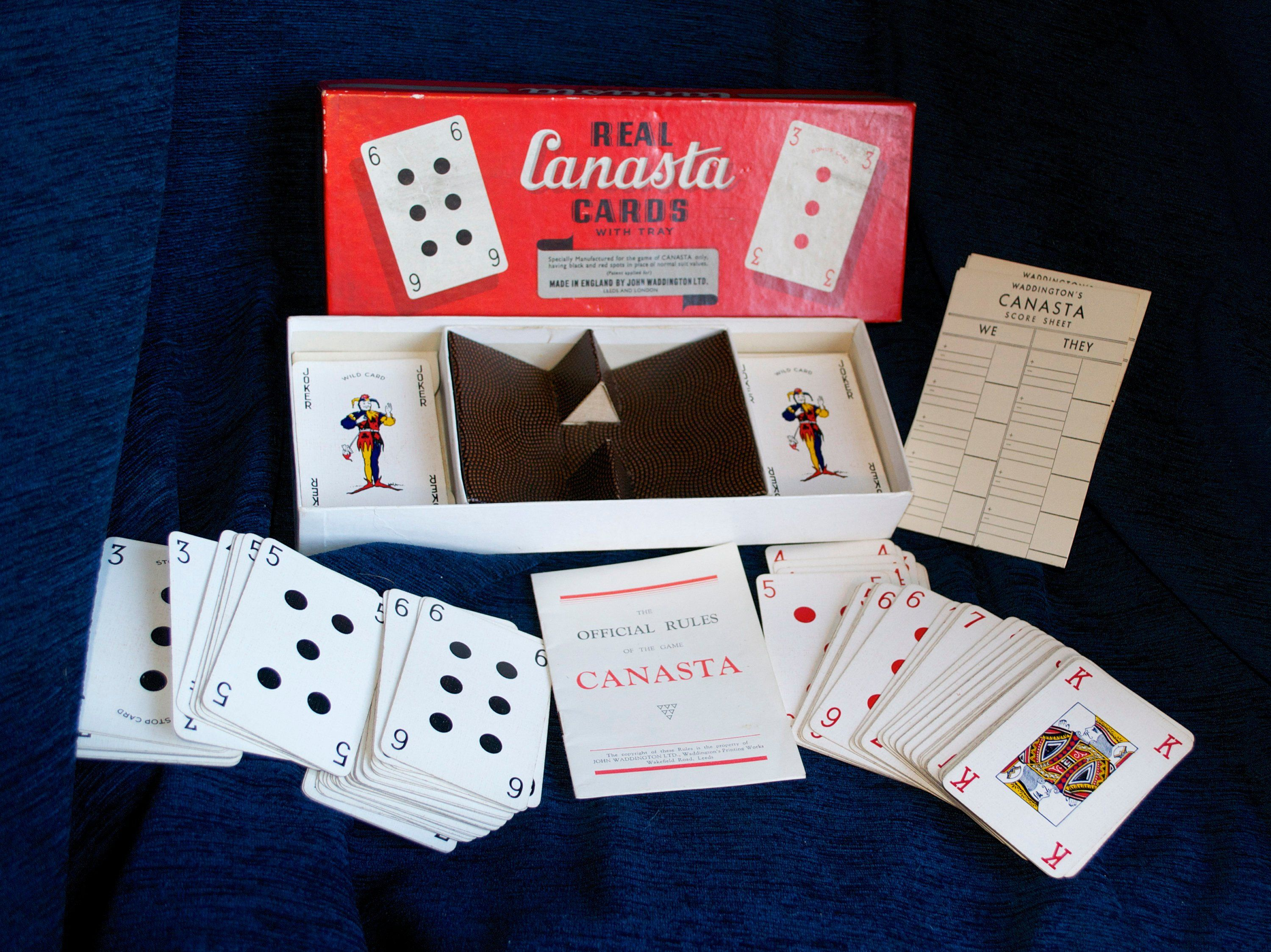 Vintage Waddington's Real Canasta Cards with Tray 1950's