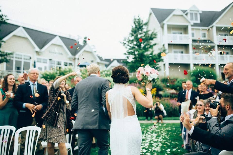 """I Do""  Lakefront Ceremony at Bay Pointe Inn"