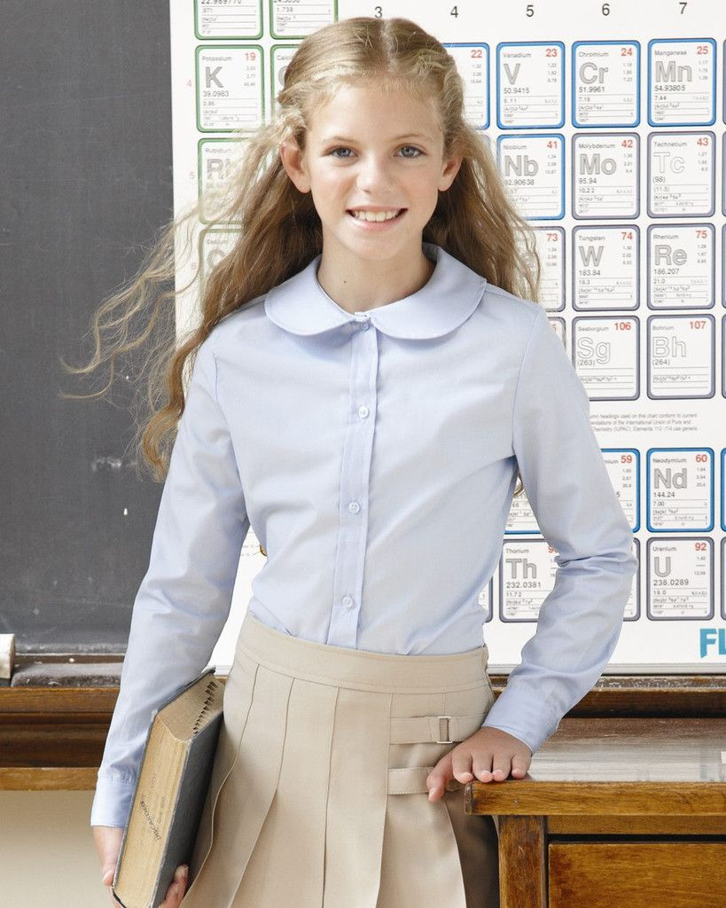 ea5aca85744121 French Toast Girls' Long Sleeve Peter Pan Poplin Shirt School Uniform  #BackToSchool #Clothing