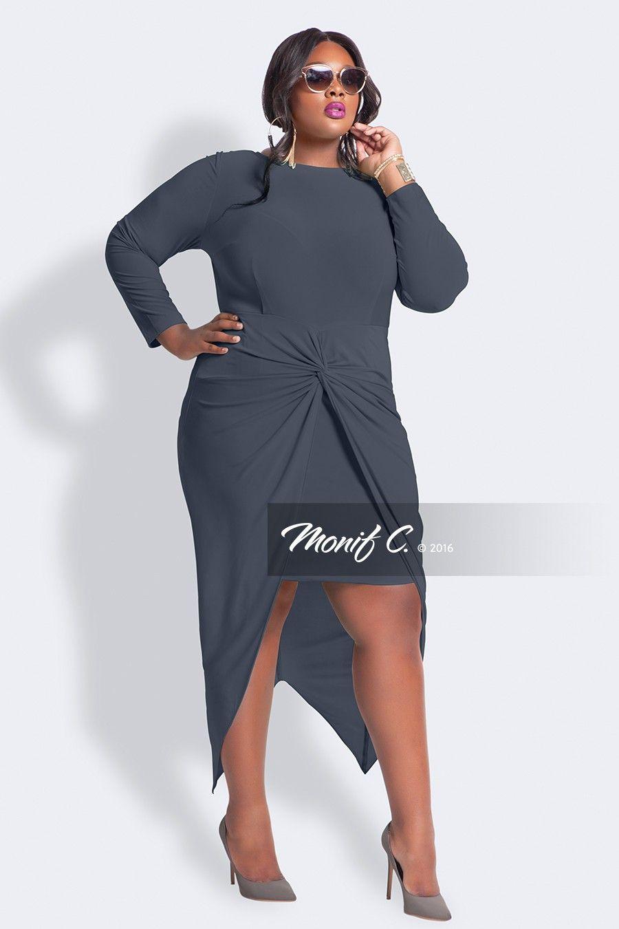 Gigi Knotted Plus Size Dress - Charcoal - Monif C $118 | The ...