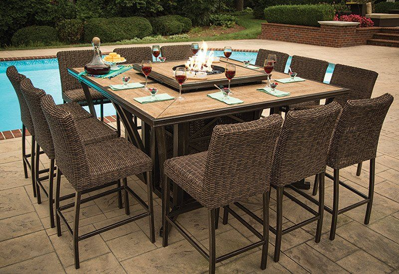 Franklin Wood Tile Bar Height Fire Pit Dining 15 Pc Set Outdoor