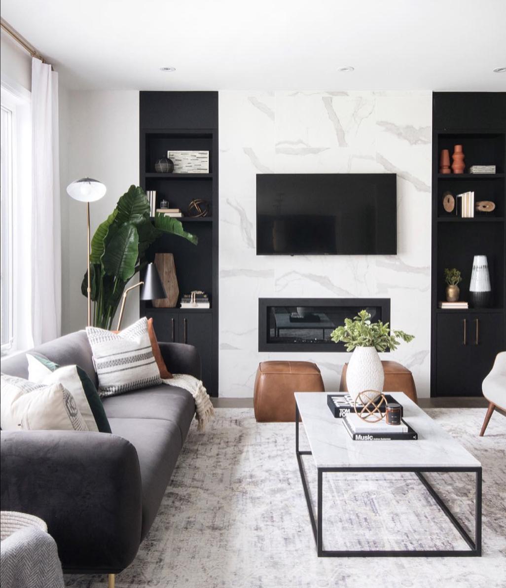 Black White Modern Living Room Interior Living Room White Living Room Design Modern