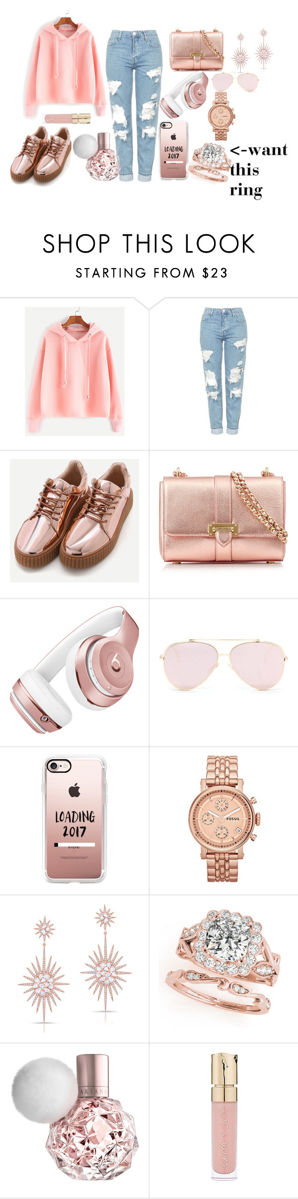 """yeah i want it"" by megi-queen ❤ liked on Polyvore featuring Topshop, Aspinal of London, Beats by Dr. Dre, Casetify, FOSSIL, Anne Sisteron and Smith & Cult"