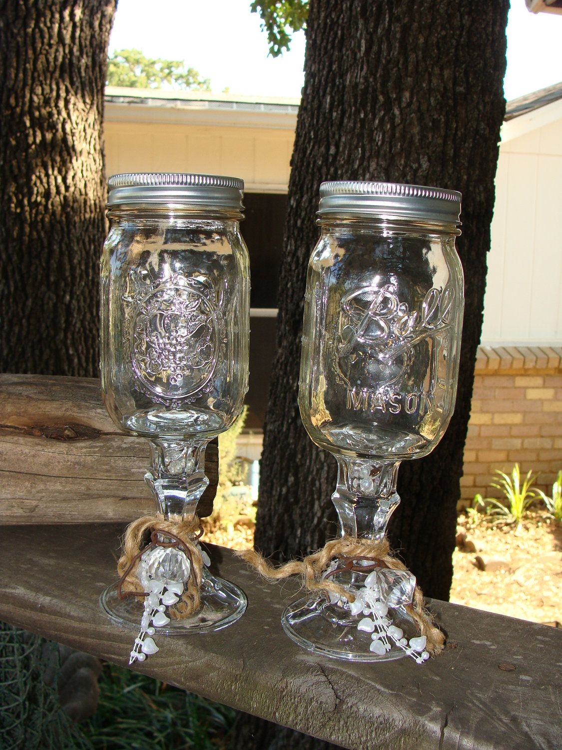 Redneck Wedding Wine Glass Set Rings Wedding wine glasses