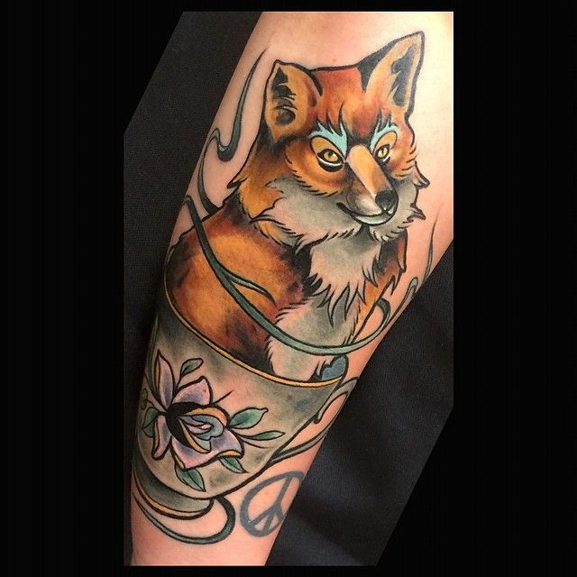 Fox chillin in the teacup. Wraps a bit, tough to get a full photo. Thank you Sarah.