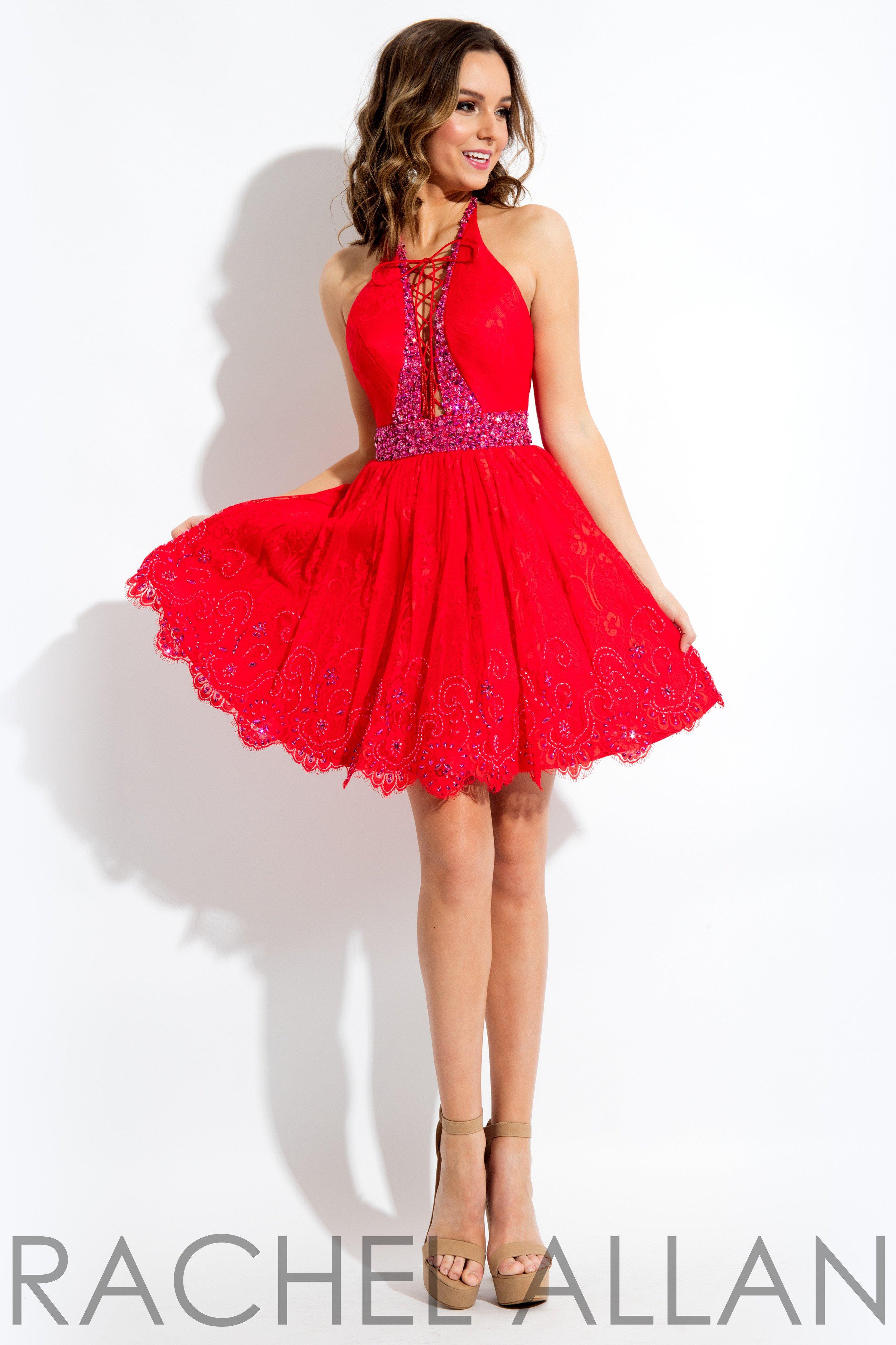 Rachel allan red high neck lace open back short dress
