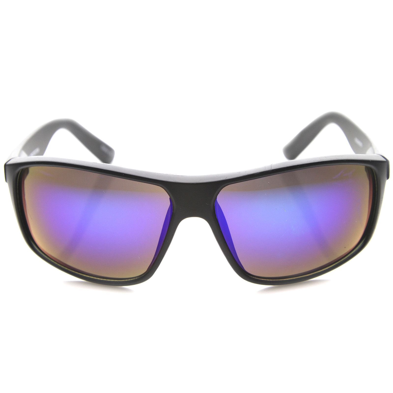 Mens Rectangular Sunglasses With UV400 Protected Mirrored Lens ...