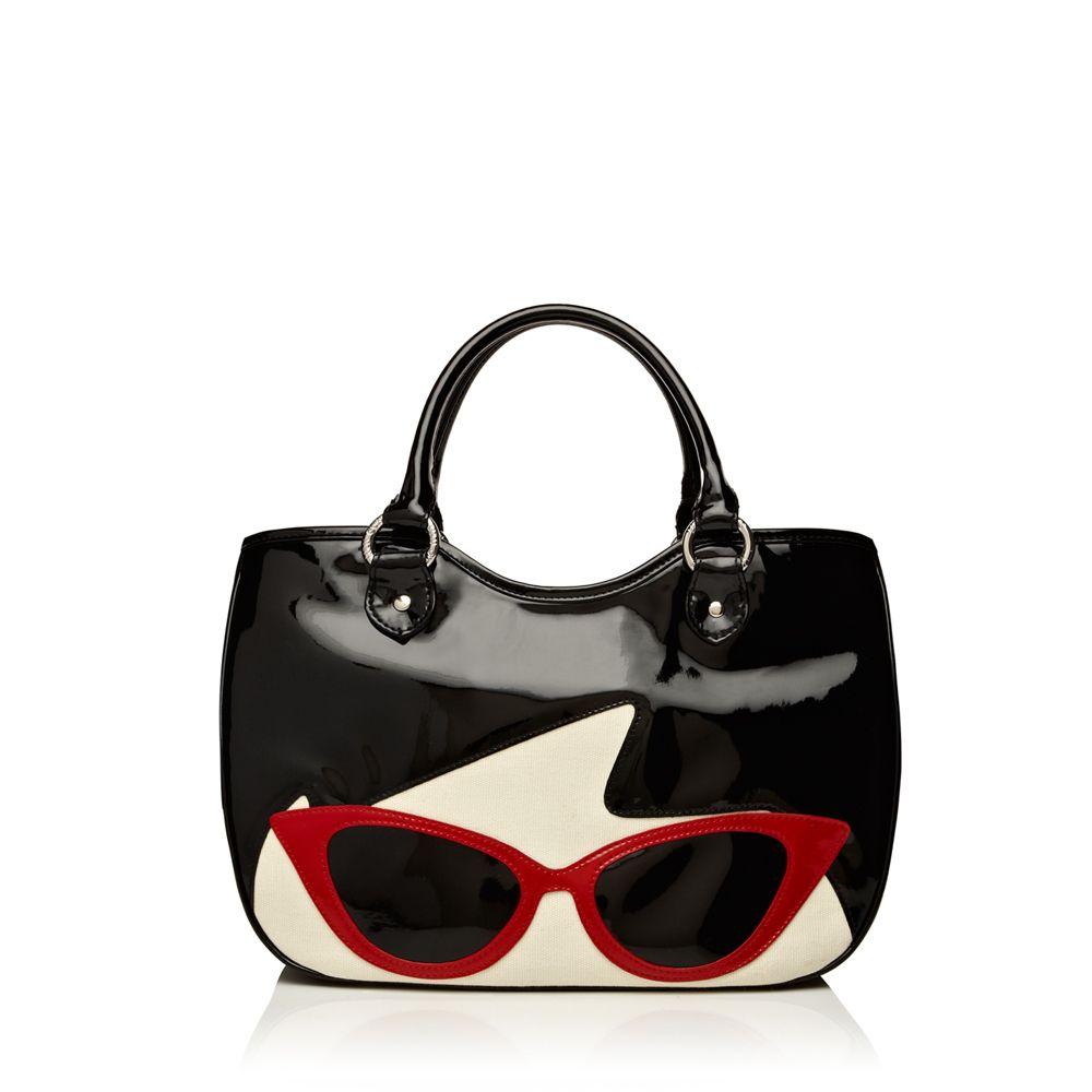 Lulu Guinness black sunglasses doll face small wanda Purse Love!!!