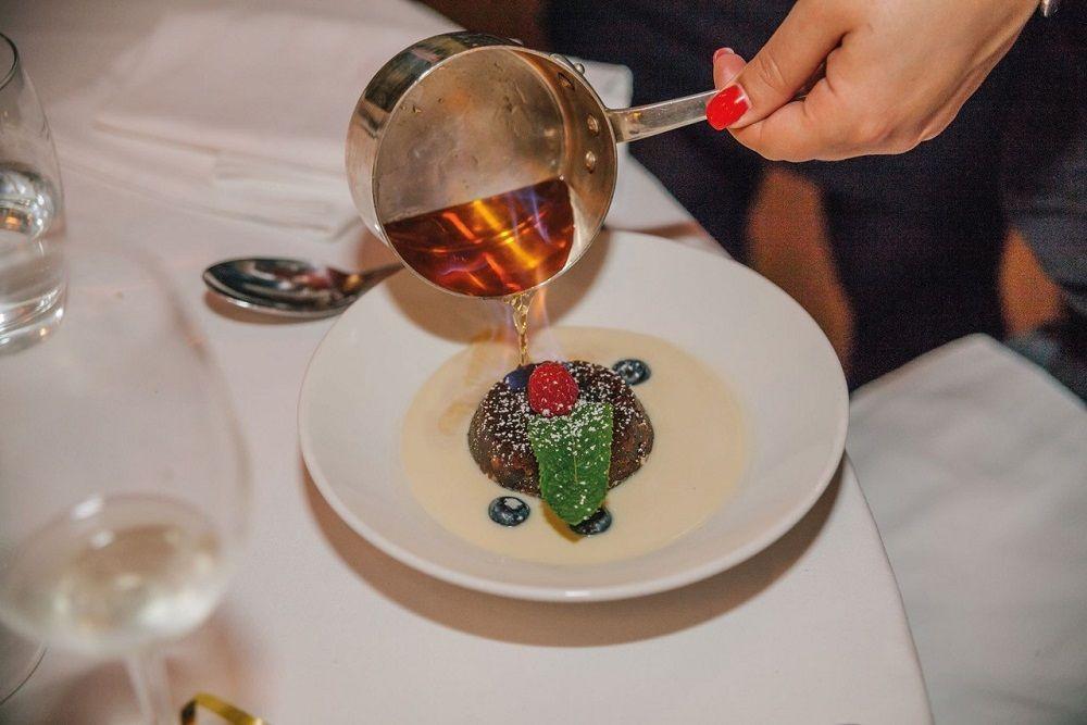 Christmas pudding at Bleeding Heart restaurant London