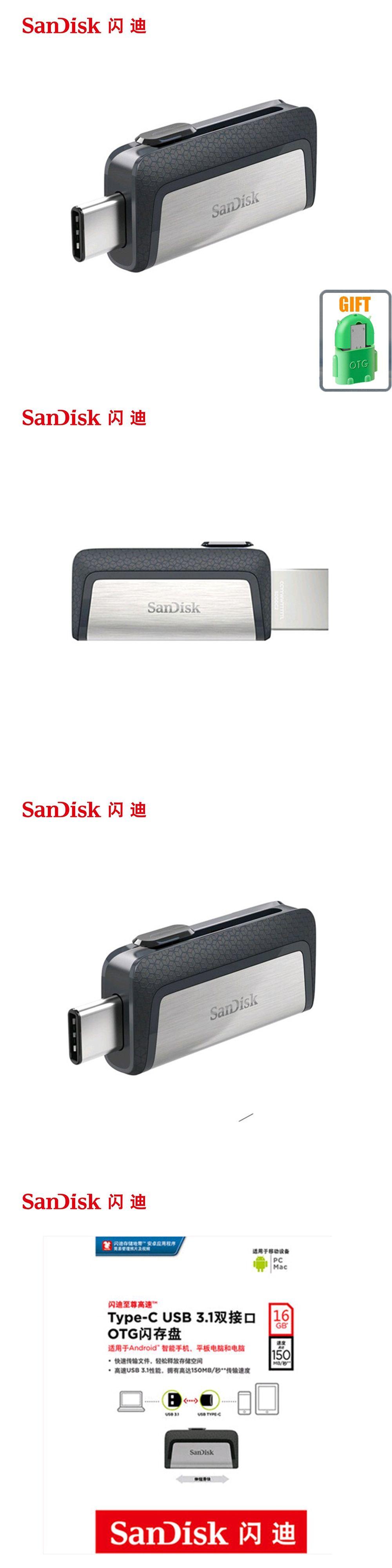 Sandisk Usb Flash Drive 16gb 32gb 64gb 128gb 150mbs Type C Usb31 Otg Dual