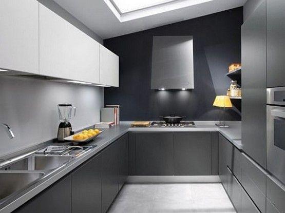 Gray Color Modular Kitchen Italian Kitchen Design Sleek Kitchen