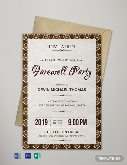 12 Free Farewell Invitation Templates Word Doc Psd In Farewell Invitation Card T Farewell Invitation Card Farewell Party Invitations Invitation Template