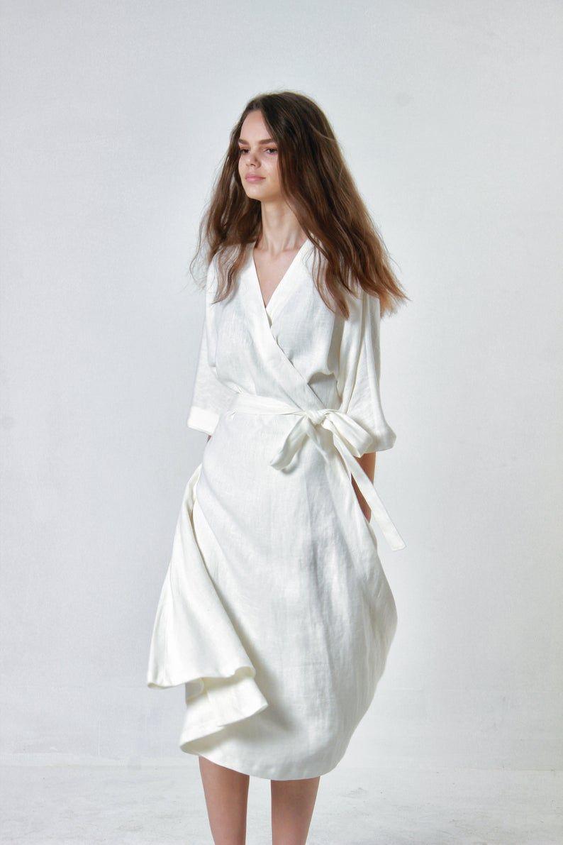 Lange Leinen Wickeln Kleid Thalia Ellenbogen Armel Leinen Etsy Long Wrap Dress Wrap Around Dress Wrap Dress [ 1191 x 794 Pixel ]