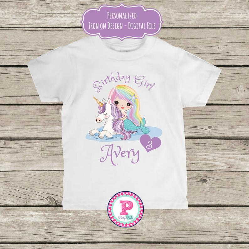 Mermaid Unicorn Birthday Party Personalized Iron on Transfer TShirt Design Only Matches Invitation - Unicorn birthday parties, Unicorn birthday, Tshirt designs, Adoption party, Birthday parties, Unicorn party - 2qpoabWYou will need a reversed or flipped image for these specific sheets but not all iron on transfer paper needs the image reversed   Please choose the correct one at checkout Any questions please feel free to ask!Turnaround is 4872 hours