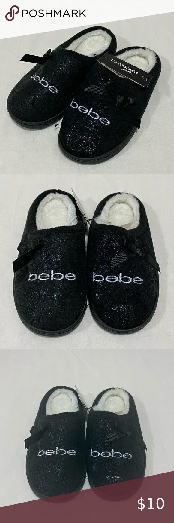 Brand New bebe Girls Slippers Black