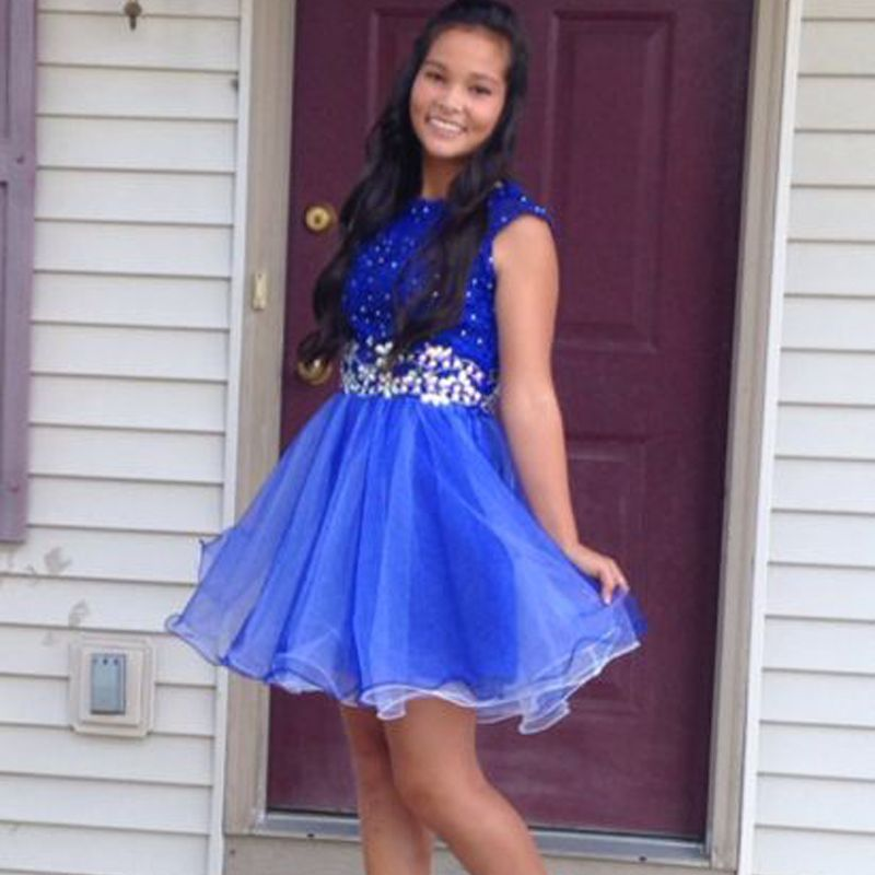 New Mini Homecoming Dresses High School Blue Sleeveless Beading ...