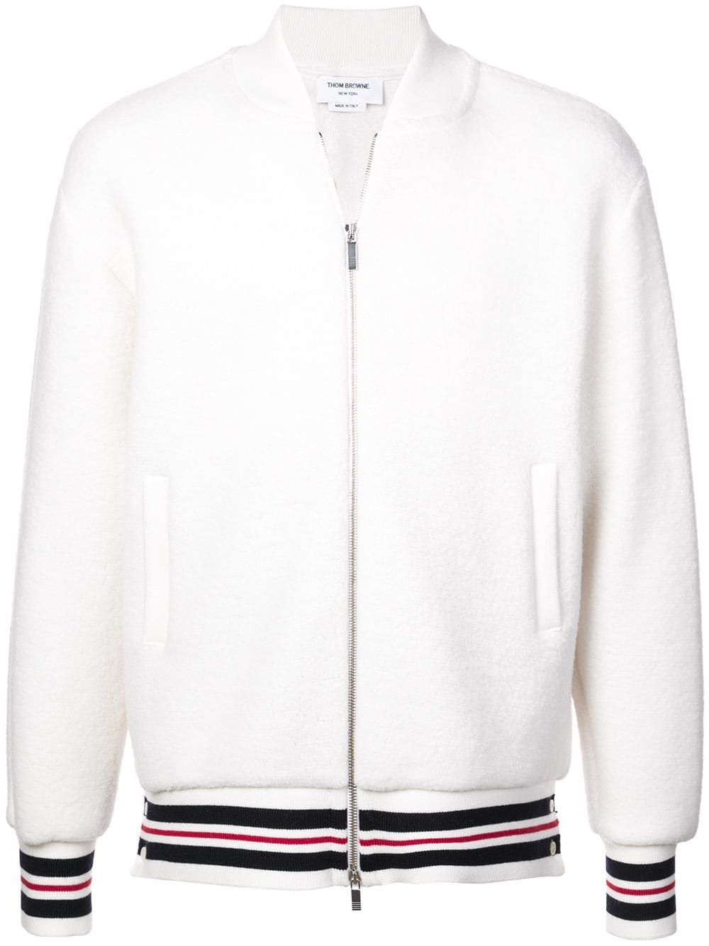 eb781790ff8 THOM BROWNE THOM BROWNE STRIPED BOMBER JACKET - WHITE.  thombrowne  cloth