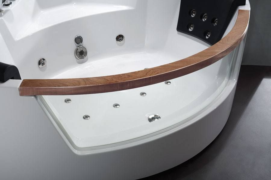 EAGO AM197 5\' Rounded Clear Modern Corner Whirlpool Bath Tub with ...