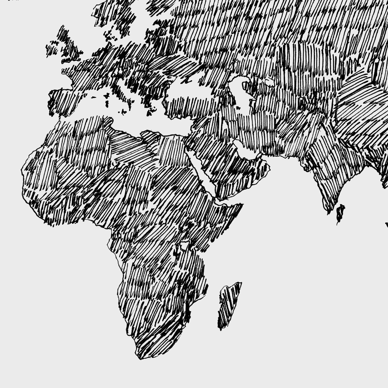 World Map Art Print Printable World Map Large Print Black And - Grey world map poster