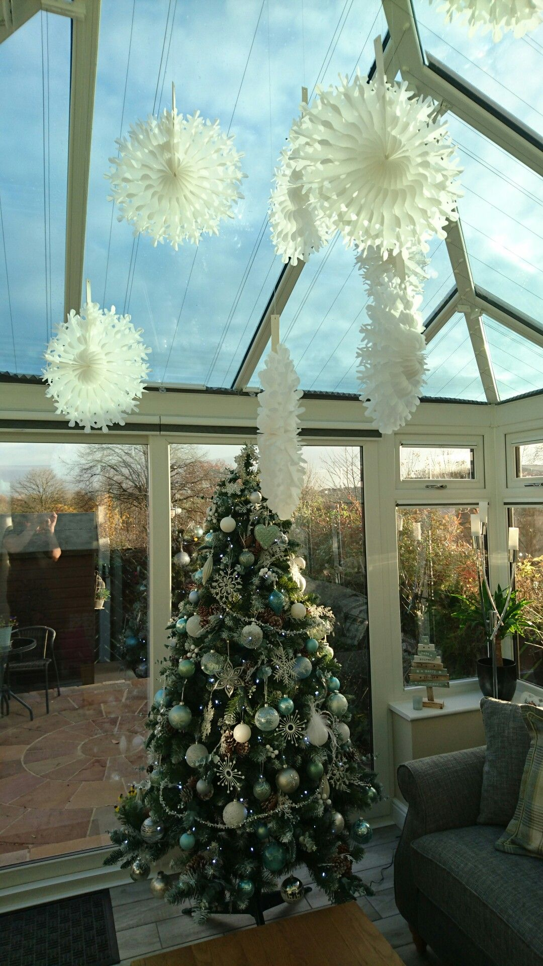 christmas decorations white silver glass blue green aqua