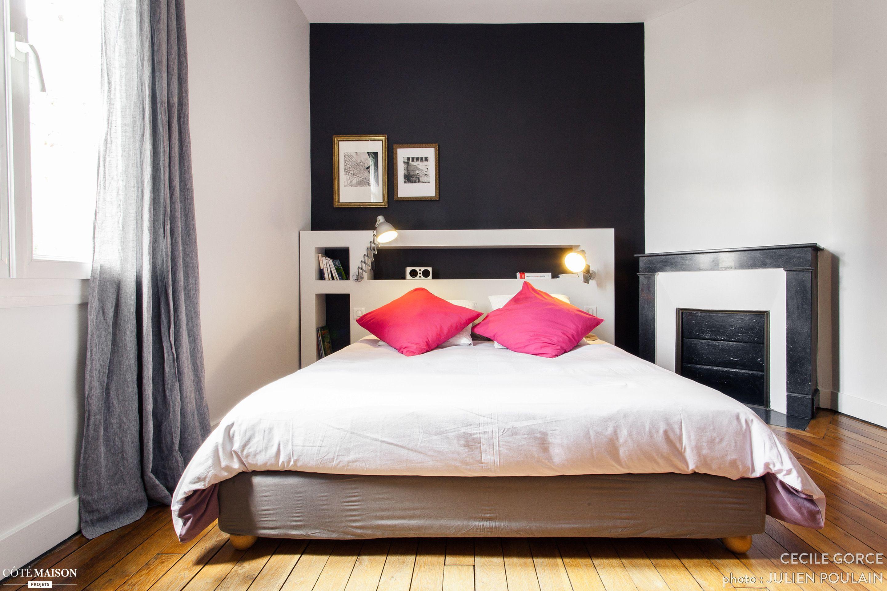 Un mur noir qui modernise la chambre parentale | Maison de Rêve ...