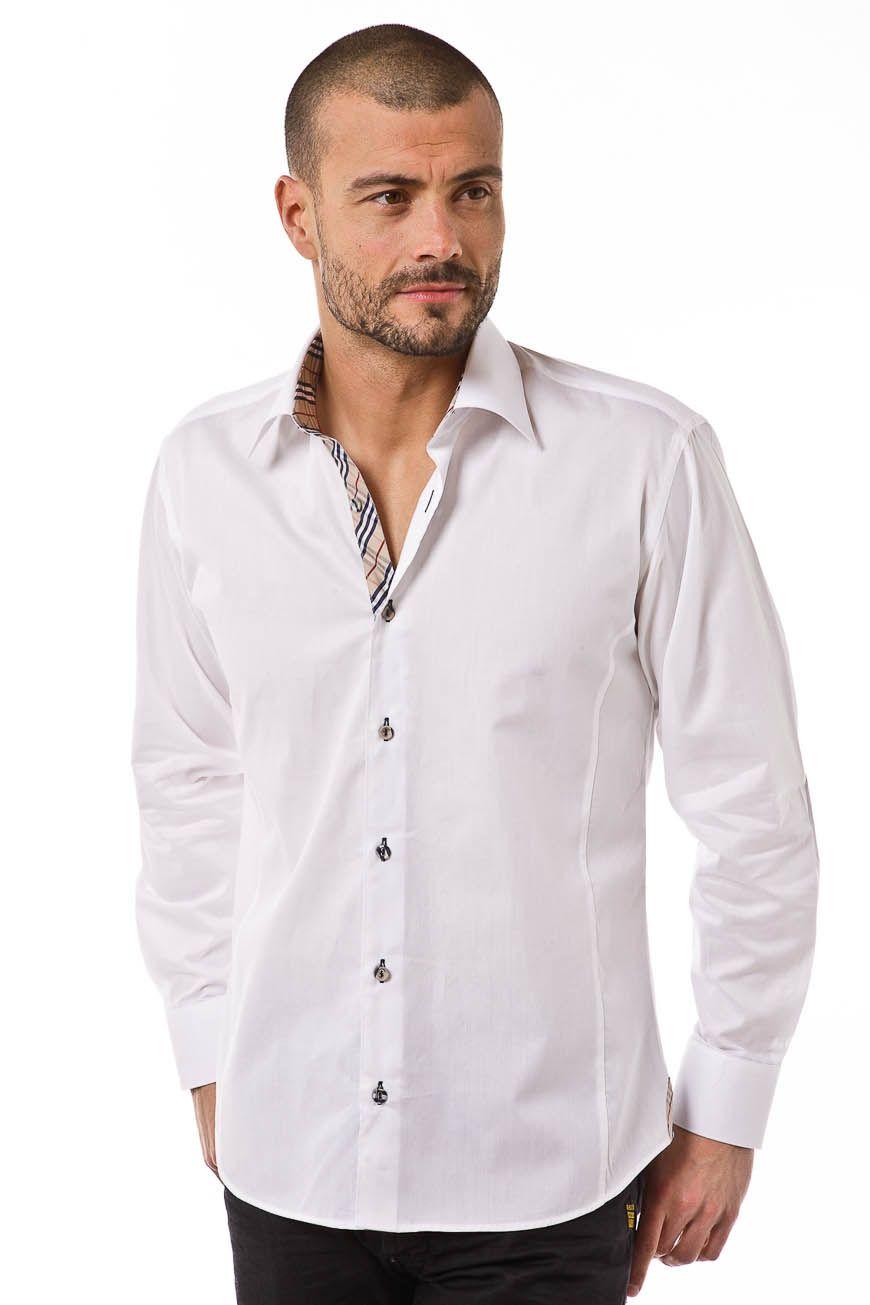 Chemise homme blanche unie modèle Paname à la fois classique et ...