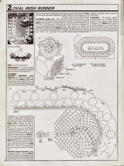 Camino de mesa con diseño de flores / patrones crochet | Crochet y ...