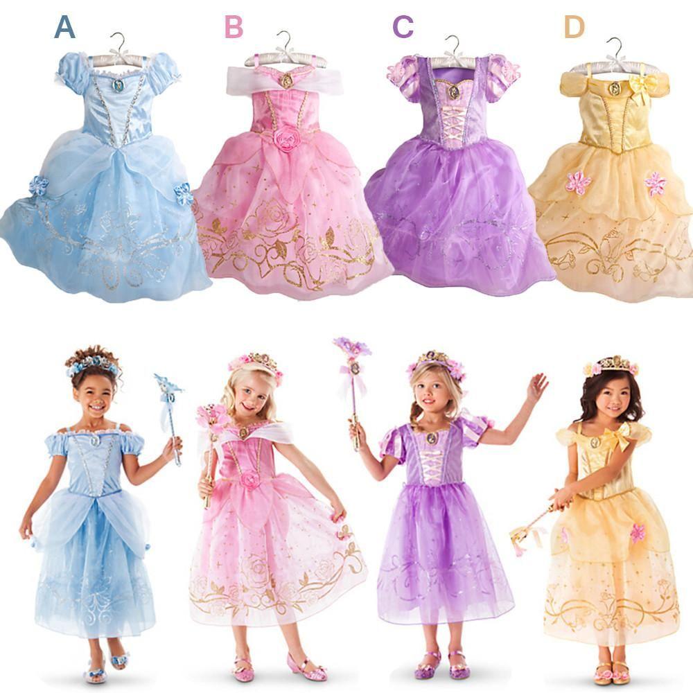 New Girls Party Dresses Kids Summer Cartoon Baby Princess Dresses for