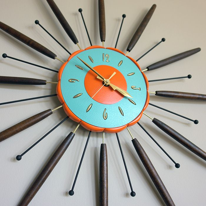 vintage starburst eames mid century modern wall clock oh
