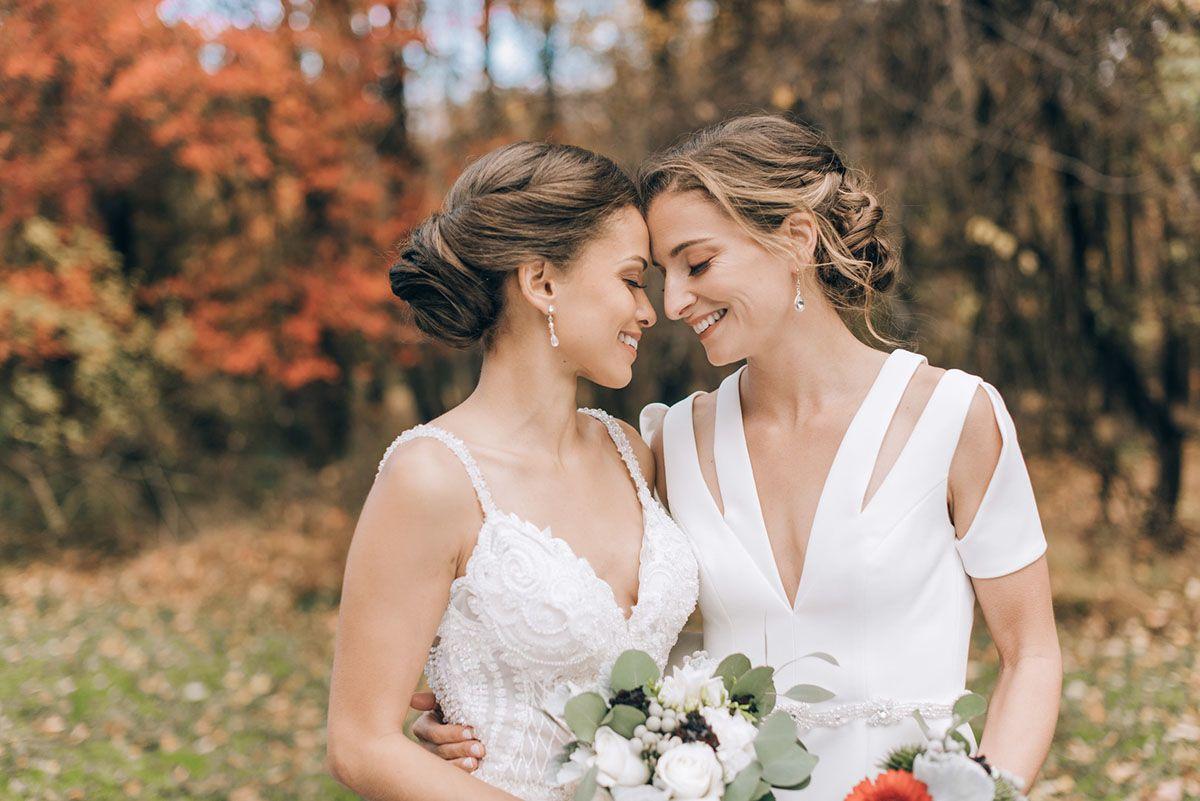 This Romantic Fall Wedding Has Some Seriously Gorgeous Foliage Lesbian Wedding Fall Wedding Boston Wedding Dress