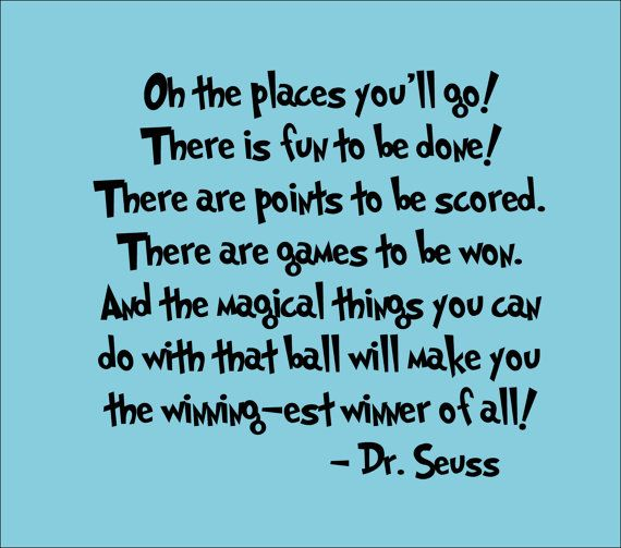 Dr Seuss Wall Decal 'Oh The Places You'll Go' Quote By