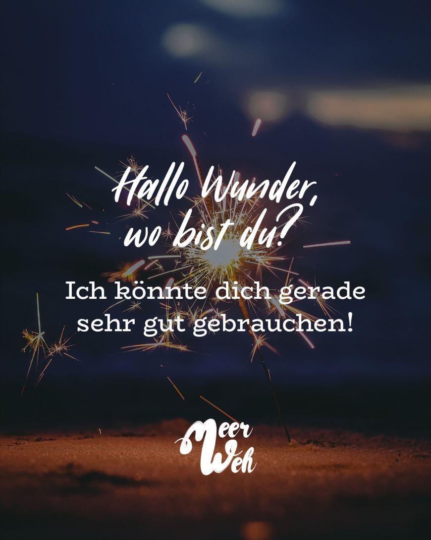 Hallo Wunder, wo bist du?Ich könnte dich gerade sehr gut gebrauchen! Sprüche / Zitate / Quotes / Meerweh / reisen / Fernweh / Wanderlust / Abenteuer / Strand / fliegen / Roadtrip / Meer / Sand / Landschaft / Sonnenuntergang / Sonnenaufgang #VisualStatements #Sprüche #Spruch #meerweh