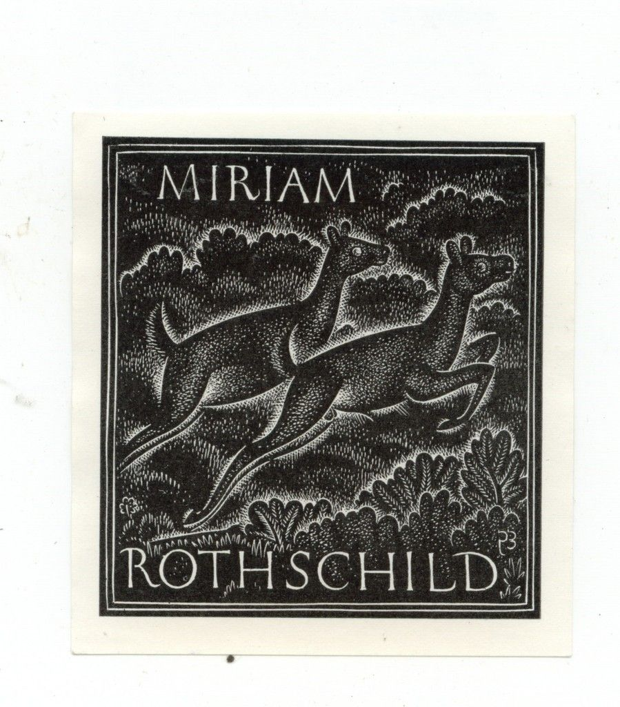 Eric Gill (1882-1940), British sculptor, typeface designer, printmaker / bookplate for Miriam Rothschild, British natural scientist and zoologist, depicts leaping dear