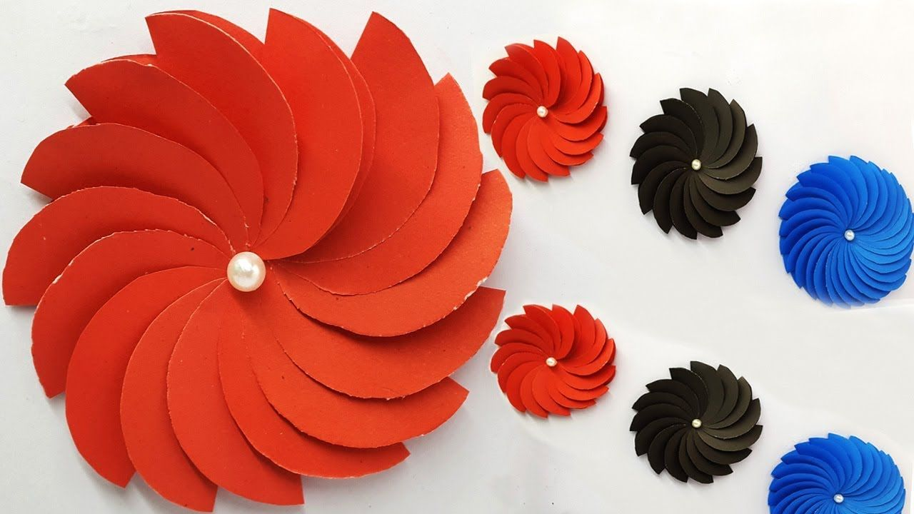 How To Make Flower With Color Paper Easy Paper Flower Wall