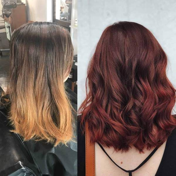 Faded Brown & Copper Balayage to Deep, Ruby Red For Fall