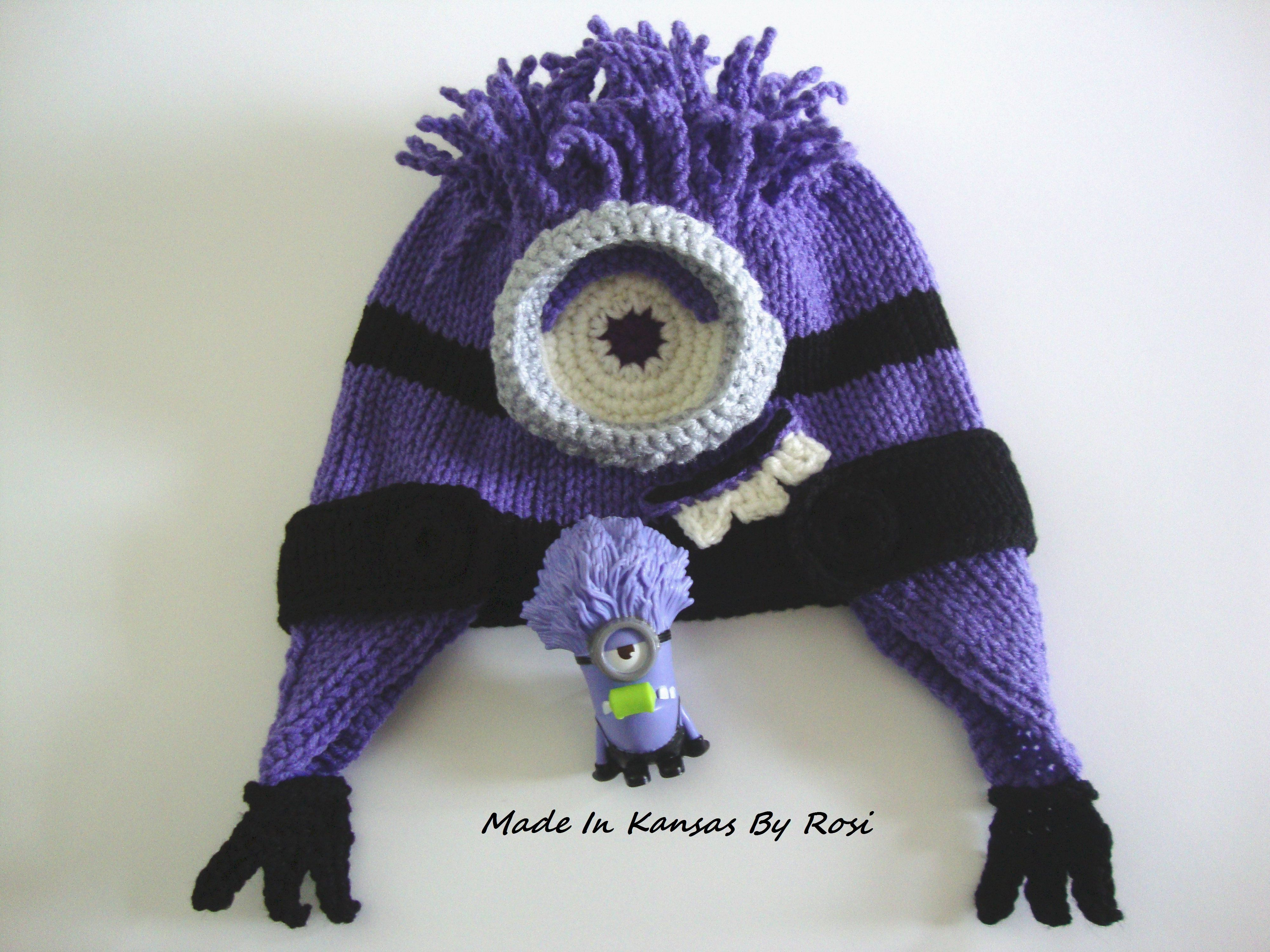 Knitted purple minion hat | Made In Kansas By Rosi | Pinterest