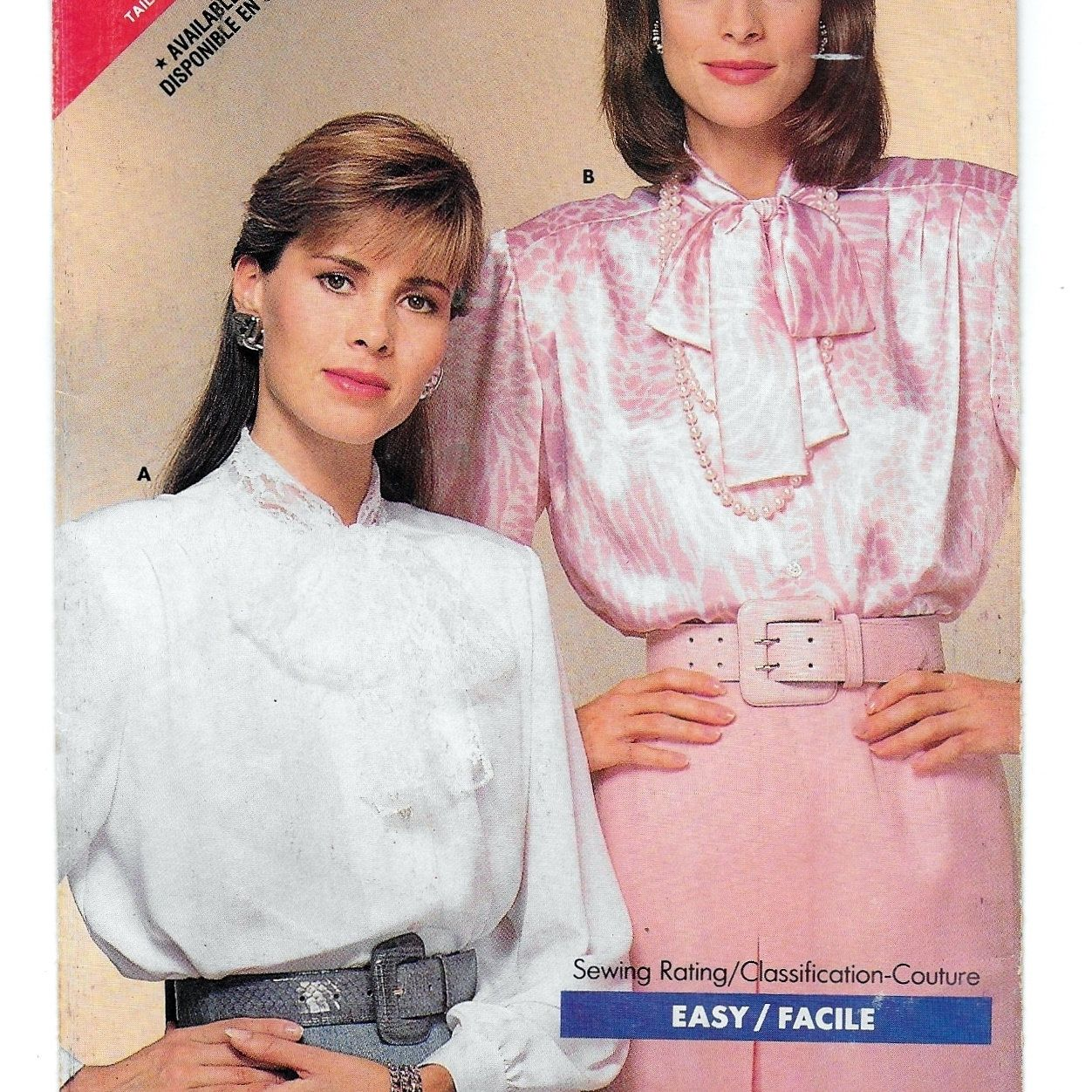 A Long Sleeve, Straight Hem Blouse w/Tie Collar Sewing Pattern for Women: Uncut