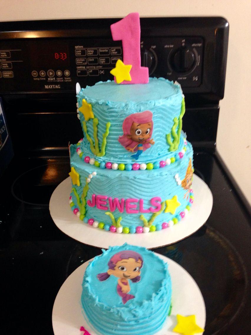 Bubble Guppies 1st Birthday Cake And Matching Smash Cake Bubble Birthday Parties Bubble Guppies Birthday Party Ideas Cake Bubble Guppies Birthday