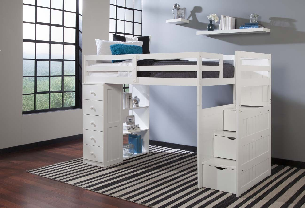 Boys' twin loft bed with storage steps  With plenty of functional storage options the Canwood Mountaineer
